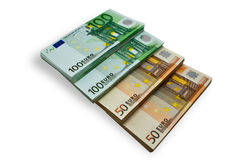 Banknotes are built by a step Royalty Free Stock Photos
