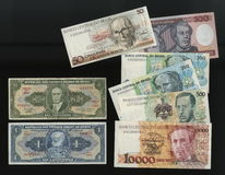 Banknotes of the Central Bank of Brazil samples withdrawn from circulation. Stock Images