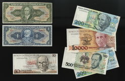 Banknotes of the Central Bank of Brazil samples withdrawn from circulation. Royalty Free Stock Photos