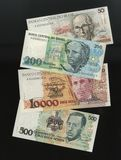 Banknotes of the Central Bank of Brazil samples withdrawn from circulation. Royalty Free Stock Photography