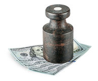 Banknotes clamped old rusty weights Royalty Free Stock Image