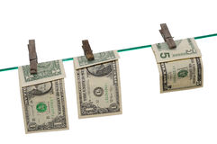 Banknotes on a Clothes Line. Dry Banknotes on a Clothes Line stock photos