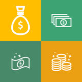 Banknotes and coin vector icon Stock Photography