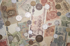 Banknotes and coins Royalty Free Stock Images