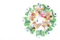 Banknotes and coins Royalty Free Stock Photos