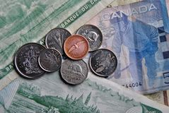 Banknotes and coins. royalty free stock photo
