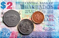 Banknotes and coins. Stock Images