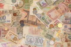 Banknotes and coins , both ancient and modern Royalty Free Stock Photography