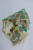 Banknotes and coins from different europian countries Royalty Free Stock Photography