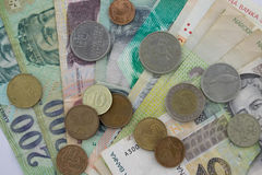 Banknotes and coins from different europian countries Stock Image