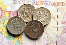 Banknotes and coins. Stock Photo
