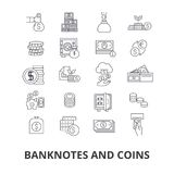 Banknotes and coins. Banknotes and coins, money, euro, guilloche, bank, dollar, note, coins, bill line icons. Editable strokes. Flat design vector illustration Stock Image