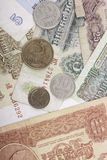 Banknotes and coins obsolete rubles currency of the Soviet Union. Banknotes rubles of the currency of the Soviet Union obsolete Stock Image