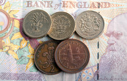 Banknotes and coins. Royalty Free Stock Images