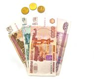 Banknotes and coins of Russia Stock Images