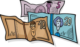 Banknotes currency cartoon illustration Stock Photography