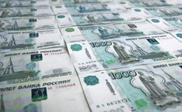 Banknotes denominated 1000 rubles Stock Photo