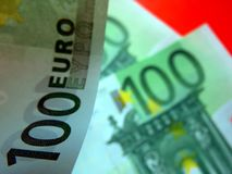 Banknotes from different angles. European currency - euro, one hundred euro banknotes, different angles, different perceptions. Symbols of the European economy stock image