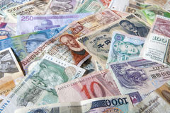 Banknotes of different countries Stock Image