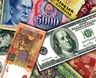 Banknotes of different countries Royalty Free Stock Image