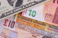 Banknotes in different currencies royalty free stock photography