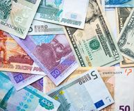 Banknotes dollar, zloty, rubel, euro, hryvna Stock Photo