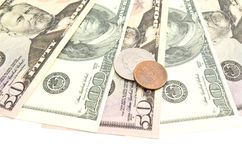 Banknotes and dollars coins Royalty Free Stock Photography