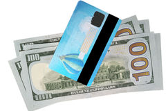 Banknotes of dollars and credit card Stock Photos