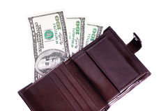 Banknotes dollars in leather brown purse Stock Photo