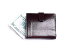 Banknotes dollars in leather  purse Stock Images