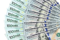 Banknotes of 100 dollars USA and 100 euro are located around Stock Photography