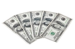 Banknotes of 100 dollars on white background Royalty Free Stock Photo
