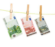 Banknotes drying  on rope Royalty Free Stock Photos