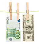 Banknotes drying  on rope Royalty Free Stock Images
