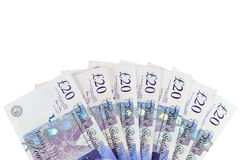 Banknotes of 20 english pounds Stock Photos