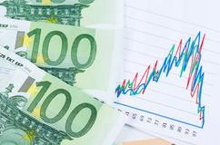 Banknotes of euro with chart Stock Photos