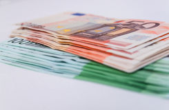 Banknotes  euro closeup as background Stock Images