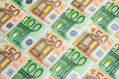 Banknotes 50 and 100 euro closeup Stock Image