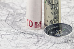 Banknotes of the Euro and the dollar depict the pillars Stock Photography