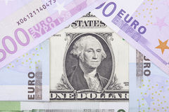 Banknotes euro and dollar in the form of  house Royalty Free Stock Photography
