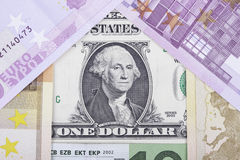 Banknotes euro and dollar in the form of  house Stock Image