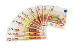 Banknotes of 50 euro Stock Photos