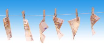 Banknotes 50 euro. Banknotes lay dry on a blue background Stock Photo