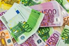 banknotes euro lot arkivfoton
