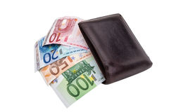 Banknotes euro in old purse. Crisis the euro. Royalty Free Stock Photos