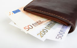 Banknotes euro in purse Royalty Free Stock Photos