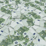 Banknotes Euros forming a background. Euro 100 banknotes forming a background stock illustration