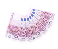 Banknotes on 500 euros laid out by a fan. Stock Photography