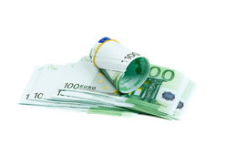 Banknotes 100 euros rolls. Isolate on white. Royalty Free Stock Image