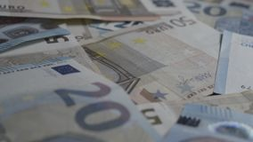 Banknotes of 20 and 50 euros stock footage